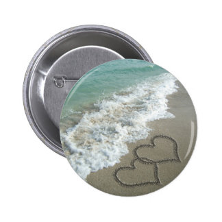 Two Sand Hearts on the Beach Pinback Button