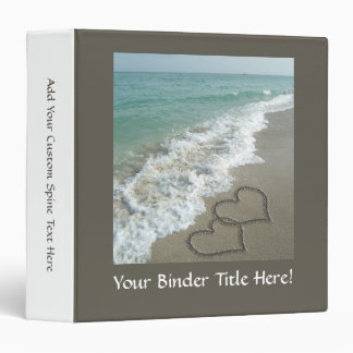 Two Sand Hearts on the Beach, Romantic Ocean 3 Ring Binder