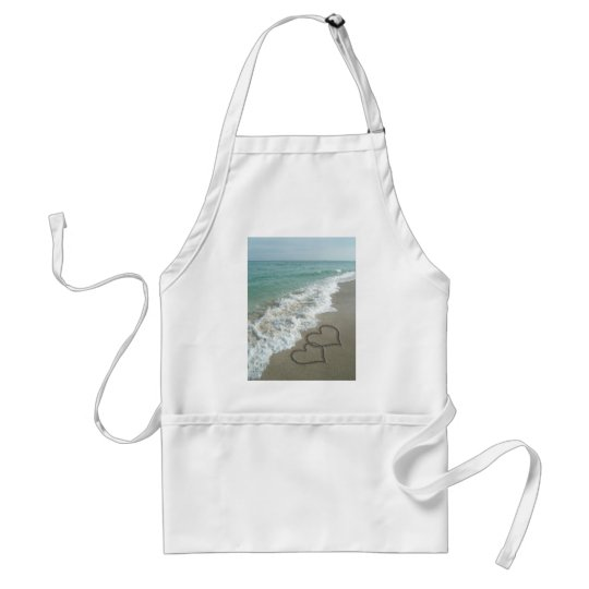 Two Sand Hearts on the Beach, Romantic Ocean Adult Apron