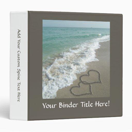 Two Sand Hearts on the Beach, Romantic Ocean Binder