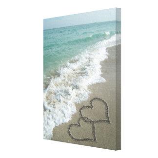 Two Sand Hearts on the Beach, Romantic Ocean Canvas Print