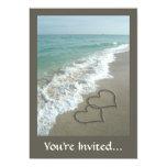 Two Sand Hearts on the Beach, Romantic Ocean Card