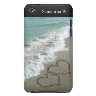 Two Sand Hearts on the Beach, Romantic Ocean Case-Mate iPod Touch Case