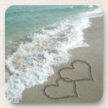 Two Sand Hearts on the Beach, Romantic Ocean Drink Coaster
