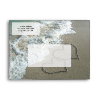 Two Sand Hearts on the Beach, Romantic Ocean Envelopes