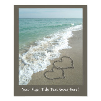 Two Sand Hearts on the Beach, Romantic Ocean Flyer