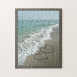 Two Sand Hearts on the Beach, Romantic Ocean Jigsaw Puzzle
