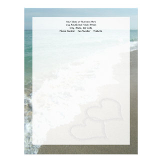 Two Sand Hearts on the Beach, Romantic Ocean Letterhead Template