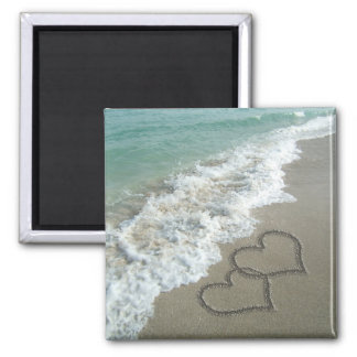 Two Sand Hearts on the Beach, Romantic Ocean Magnet