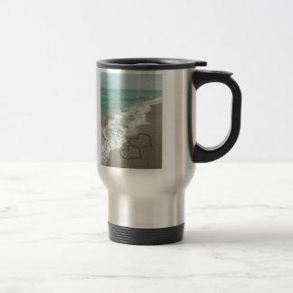 Two Sand Hearts on the Beach, Romantic Ocean Coffee Mugs