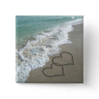 Two Sand Hearts on the Beach, Romantic Ocean Pinback Button