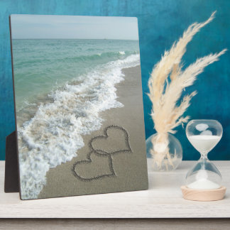 Two Sand Hearts on the Beach, Romantic Ocean Plaque