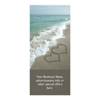 Two Sand Hearts on the Beach, Romantic Ocean Rack Card