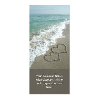 Two Sand Hearts on the Beach, Romantic Ocean Rack Card