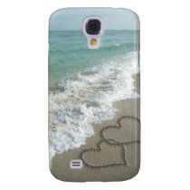 Two Sand Hearts on the Beach, Romantic Ocean Samsung Galaxy S4 Cover