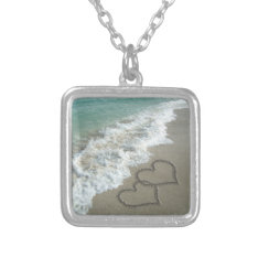Two Sand Hearts On The Beach Silver Plated Necklace at Zazzle