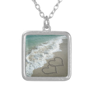 Two Sand Hearts on the Beach Square Pendant Necklace