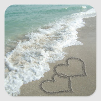 Two Sand Hearts on the Beach Square Sticker