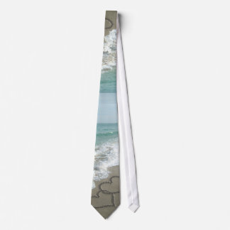 Two Sand Hearts on the Beach Tie