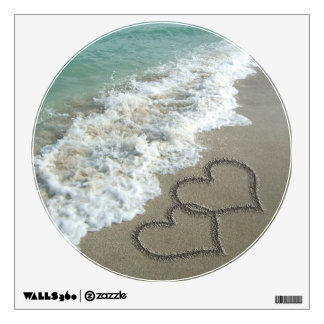 Two Sand Hearts on the Beach Wall Sticker