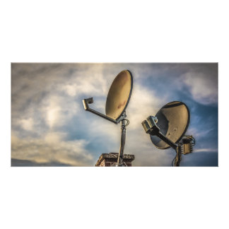 Two Satellite Dishes in the Sky Card