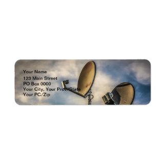 Two Satellite Dishes in the Sky Return Address Labels