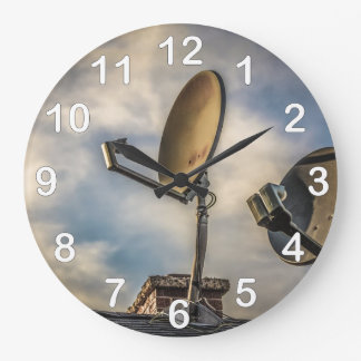 Two Satellite Dishes in the Sky Large Clock