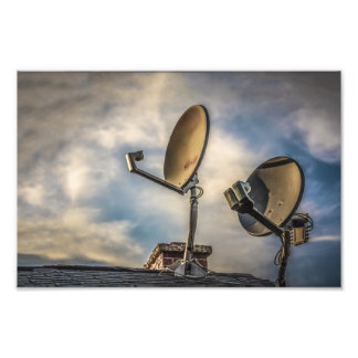 Two Satellite Dishes in the Sky Photo Art