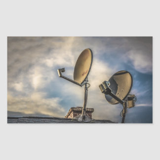Two Satellite Dishes in the Sky Rectangular Sticker