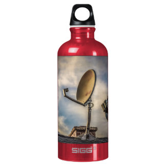 Two Satellite Dishes in the Sky Water Bottle