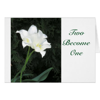 TWO SATINY INTERTWINED TULIPS/WEDDING CONGRATS. CARD