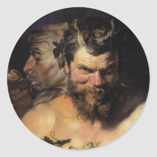Two Satyrs Classic Round Sticker