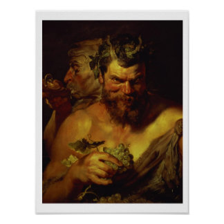 Two Satyrs (oil on panel) Poster