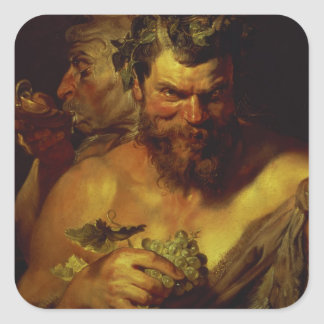 Two Satyrs (oil on panel) Square Sticker