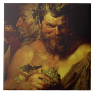 Two Satyrs (oil on panel) Tile