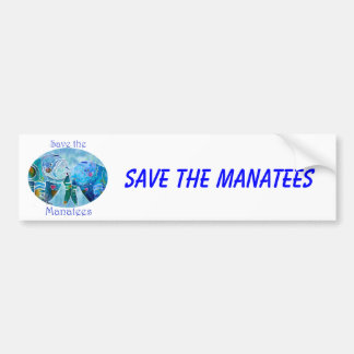 Two Save Manatees in Oval Design Ocean Blues Bumper Stickers
