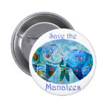 Two Save Manatees in Oval Design Ocean Blues Pin