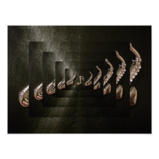 Two Saxophone playing a musical note Print