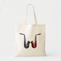 Two Saxophones Canvas Bag at Zazzle