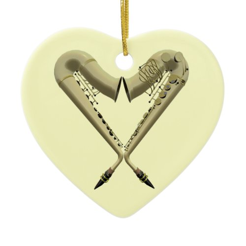Two Saxophones Heart Shape on Heart Ornament ornament