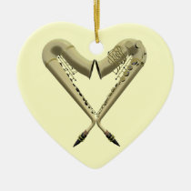 Two Saxophones Heart Shape on Heart Ornament at Zazzle