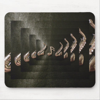 Two Saxophones with Musical Note Mouse Pad