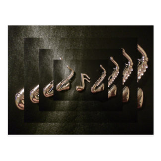 Two Saxophones with Musical Note Post Card