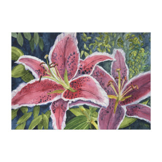 Two Scarlet Tiger Lilies Canvas Print