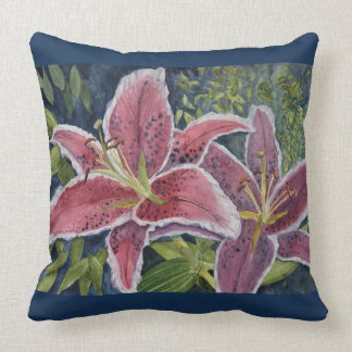Two Scarlet Tiger Lilies Throw Pillow