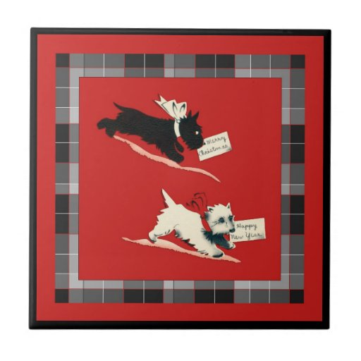 """Two Scottie Dog Sm. (4.25"""" x 4.25"""") Ceramic Tile"""