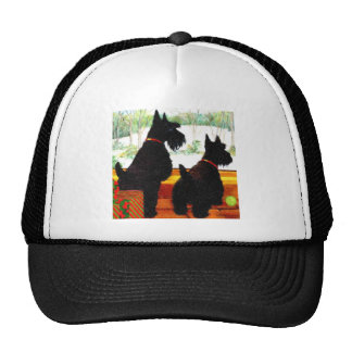 Two Scottie Dogs At Christmas Mesh Hats