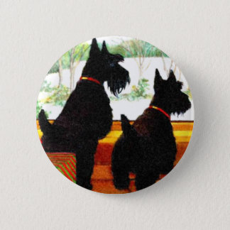 Two Scottie Dogs At Christmas Pinback Button