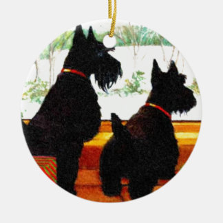 Two Scottie Dogs Waiting for Santa Claus Double-Sided Ceramic Round Christmas Ornament