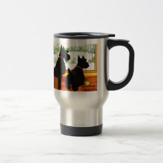 Two Scottie Dogs Waiting for Santa Claus Travel Mug